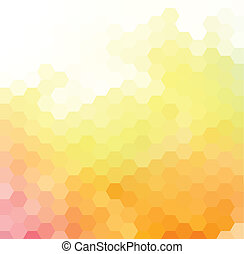 Vector background with bright orange, yellow and pink hexagonal pattern