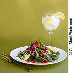 Light Healthy Meal Ready to Eat - Light Salad With Water and...