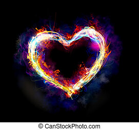 Light heart - Heart with colourful light motion and fire on...