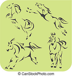 Light Horses - vector set. Vinyl-ready.