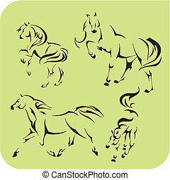 Light Horses - vector set. Vinyl-ready illustration.