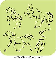 Light Horses - vector set. Vinyl-ready. - Light Horses - ...