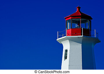 A shot of the Peggy's Cove lighthouse in Nova Scotia showing the the top of the lighthouse on a clear blue sky background