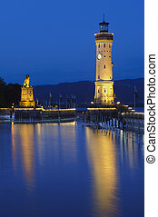 light house in harbour Lindau in Germany at lake Bodensee
