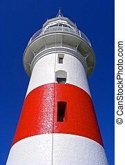 Light house red and white beautiful blue sky back drop. Tasmania Low Head Light house.