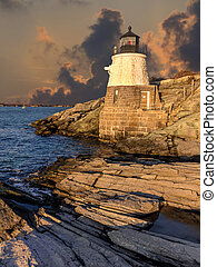Light house located off the coast of Cape Cod,...