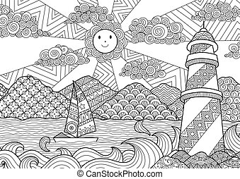 Light house - Seascape line art design for coloring book for...