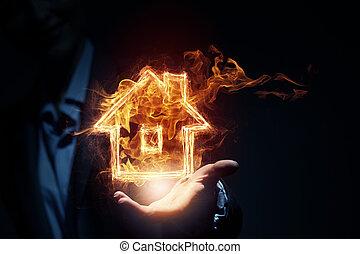 Glowing light house symbol on dark background