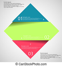 Light illustration inforgraphic with rhombus divided to three parts