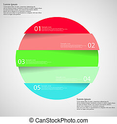 Light illustration inforgraphic with ring divided to five parts