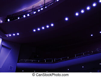 light in a dark hall during a theatrical performance
