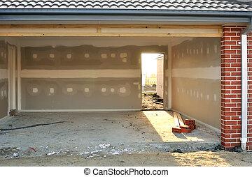 Light in garage - Garage in house under construction,...