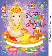 Happy Holi Holiday Poster With Lord Ganesha God Colorful Flat