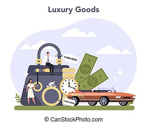 Light industries sector of the economy. Luxury goods production. Consumer goods industry. Isolated flat vector illustration