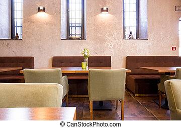 Light interior of restaurant