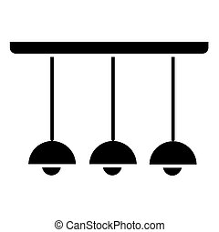 light lamp ceiling 3 icon, vector illustration, black sign on isolated background