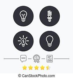 Light lamp icons. Energy saving symbols. - Light lamp icons...