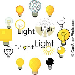 Light lamp icons set, cartoon style