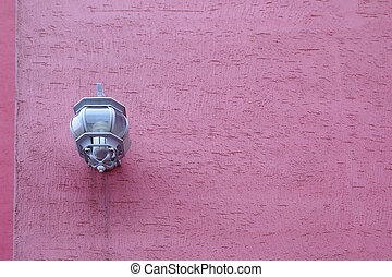 light lamp on the pink wall