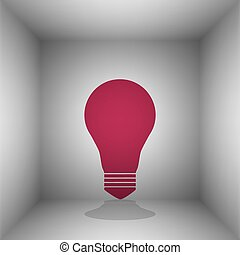 Light lamp sign. Bordo icon with shadow in the room.