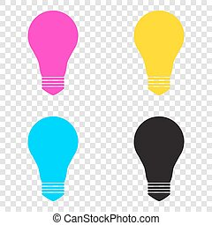 Light lamp sign. CMYK icons on transparent background. Cyan, mag