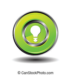 Light lamp sign green icon. Idea