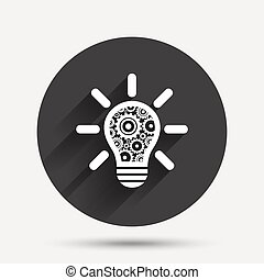 Light lamp sign icon. Bulb with gears symbol.