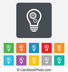 Light lamp sign icon. Bulb with gears and cogs symbol. Idea symbol. Rounded squares 11 buttons. Vector