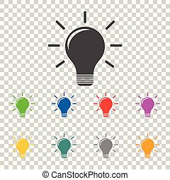 Light lamp sign icon. Flat vector