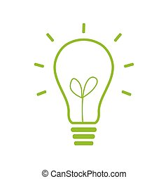 Light lamp sign icon. Idea symbol. green icon