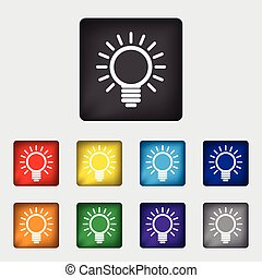 Light lamp sign icon. Idea symbol. Light is on. Rounded squares 9 buttons. Vector
