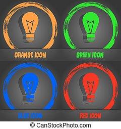 Light lamp sign icon. Idea symbol. Lightis on. Fashionable modern style. In the orange, green, blue, red design. Vector