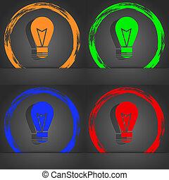 Light lamp sign icon. Idea symbol. Lightis on. Fashionable modern style. In the orange, green, blue, red design.