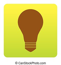 Light lamp sign. Vector. Brown icon at green-yellow gradient square with rounded corners on white background. Isolated.