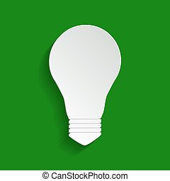 Light lamp sign. Vector. Paper whitish icon with soft shadow on green background.