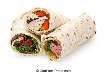 light lunch sliced wraps - A sliced tortilla wrap a rollup...