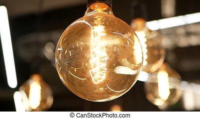 Light macro lamp decoration - Light bulbs garland close up....