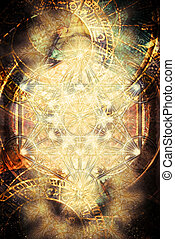 Light merkaba and zodiac and abstract background. Sacred geometry.