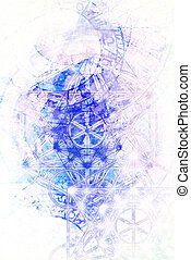 Light merkaba and zodiac and marble background.