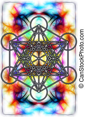 Light merkaba on abstract background and fractal effect. Sacred geometry.