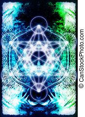 Light merkaba on abstract background. Sacred geometry. -...