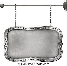 Light metal signboard on chains