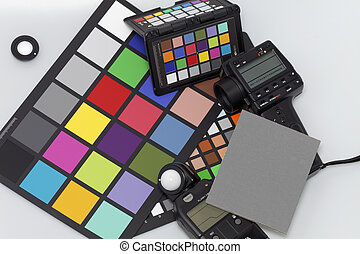 Light meters and color scale for professional photography...