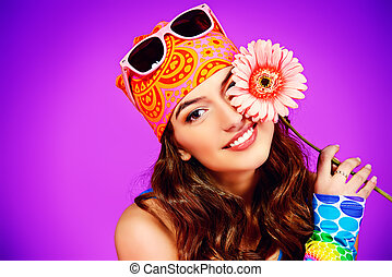 light mood - Cheerful teenager girl in bright casual clothes...