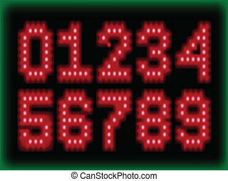 light number - set of mumber in digital green light style