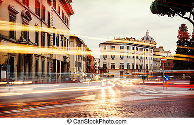 light of car traffic on Piazza d'Aracoeli is a square of ...