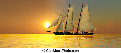 LIGHT OF LIFE - A beautiful sailing vessel passes the...