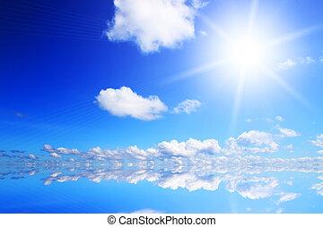 Light of the sun and blue sky