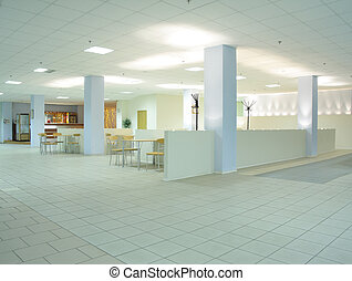 Light office cafe located in business center interior