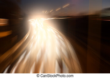 light on highway - highway in evening and light